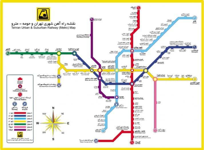 نقشه مترو تهران ، ایستگاههای به بهرهبرداری رسیده تا مرداد 98