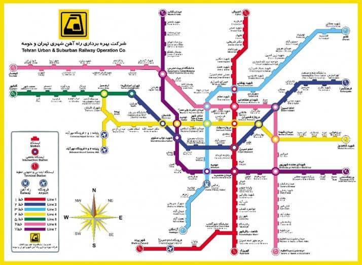 نقشه مترو تهران پس از تکمیل تمامی خطوط