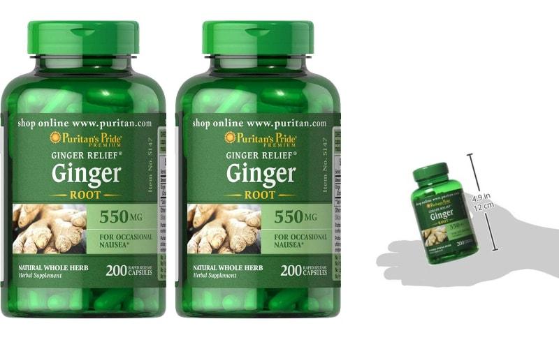 خواص زنجبیل - Puritans Pride Ginger Root 550 Mg, 200 Count